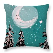 Starry Night Crescent Moon  Throw Pillow
