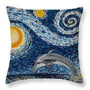 Starry Night Dolphin Throw Pillow