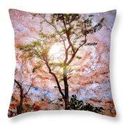 Starry Night Fantasy, Tree Silhouette Throw Pillow