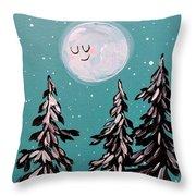 Starry Night Moon  Throw Pillow