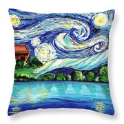 Starry Night Over The Lake Throw Pillow