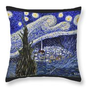 Starry Nights And Serenity  Throw Pillow