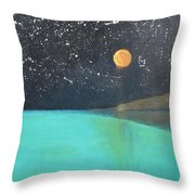 Starry Sky Above The Ocean Throw Pillow
