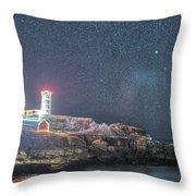 Starry Sky Of The Nubble Light In York Me Cape Neddick Throw Pillow