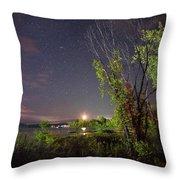 Starry Sky Over Lake Champlain New York Throw Pillow