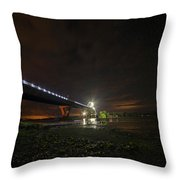Starry Sky Over The New York To Vermont Bridge Lake Champlain Throw Pillow