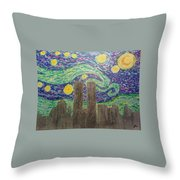 Starry Towers Throw Pillow