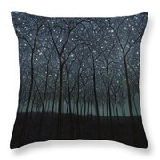 Starry Trees Throw Pillow