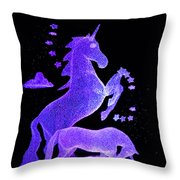 Starry Unicorns Throw Pillow