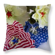 Stars And Stripes Bouquet Throw Pillow