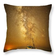 Stars Over Fishing Boat Throw Pillow