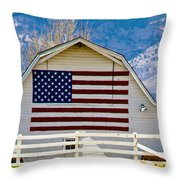 Stars Stripes And Barns Throw Pillow