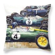 1963 Start British Gp  - Lotus  Brabham  Brm  Brabham Throw Pillow