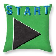 Start Button Throw Pillow