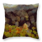 Starting A Fire In The Forest Throw Pillow