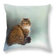 Starting To Snow Again Throw Pillow