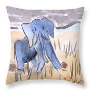 Startled Elephant Throw Pillow