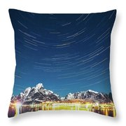 Startrails Above Reine Throw Pillow