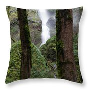 Starvation Creek Falls Between The Trees Throw Pillow