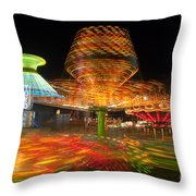 State Fair Rides At Night I Throw Pillow by Clarence Holmes