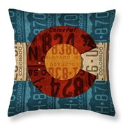 State Flag Of Colorado Recycled License Plate Art Throw Pillow