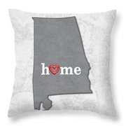 State Map Outline Alabama With Heart In Home Throw Pillow