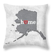 State Map Outline Alaska With Heart In Home Throw Pillow