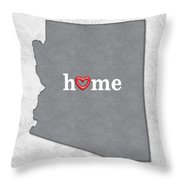State Map Outline Arizona With Heart In Home Throw Pillow