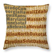 State Names American Flag Word Art Red White And Blue Throw Pillow