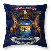 State Of Michigan Flag Recycled Vintage License Plate Art Version 1 Throw Pillow by Design Turnpike