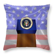 State Of The Union Podium Throw Pillow