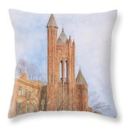 State Street Church Throw Pillow by Dominic White