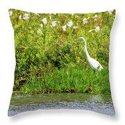 Stately Egret Throw Pillow