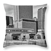 Staten Island Ferry Docks In B And W Throw Pillow