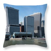 Staten Island Ferry Docks Throw Pillow