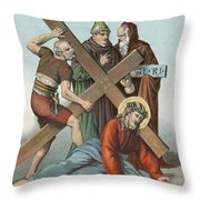 Station Ix Jesus Falls Under The Cross The Third Time Throw Pillow