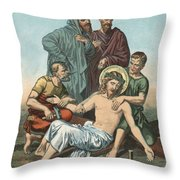 Station Xi Jesus Is Nailed To The Cross Throw Pillow