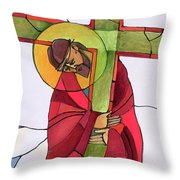 Stations Of The Cross - 02 Jesus Accepts The Cross - Mmjcs Throw Pillow