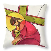 Stations Of The Cross - 03 Jesus Falls The First Time - Mmjff Throw Pillow