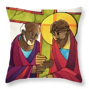 Stations Of The Cross - 05 Simon Helps Jesus Carry The Cross - Mmshj Throw Pillow