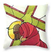 Stations Of The Cross - 07 Jesus Falls A Second Time - Mmjti Throw Pillow
