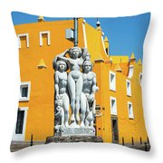 Statue And Yellow Theater Throw Pillow