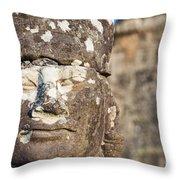 Statue At Angkor Thom Throw Pillow