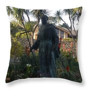 Statue At Mission Carmel Throw Pillow