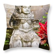 Statue At Pura Besakih Throw Pillow