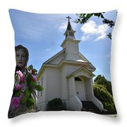 Statue At St. Mary's Church Throw Pillow