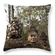 Statue Heads Ankor Thom Throw Pillow