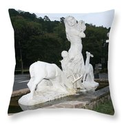 Statue In Front Of Arlington Hotel, Hot Springs, Ar Throw Pillow