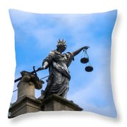 Statue In Sky Throw Pillow
