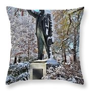 Statue In The Snow Throw Pillow